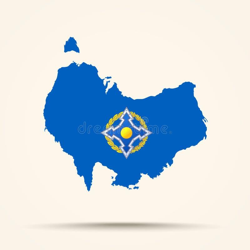 Översikt av Australien i flagga för organisation för fördrag för kollektiv säkerhet royaltyfri illustrationer