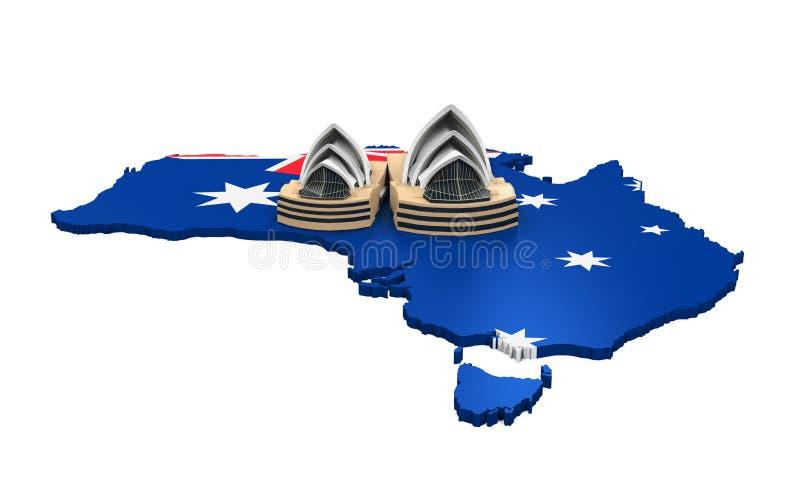 Översikt av Australien och Sydney Opera House stock illustrationer