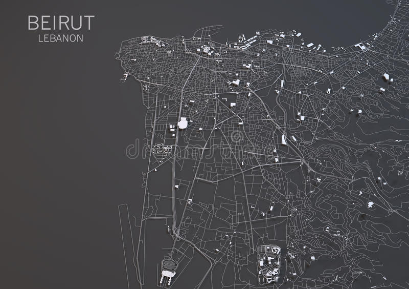 Översikt av Beirut, Libanon, satellit- sikt vektor illustrationer