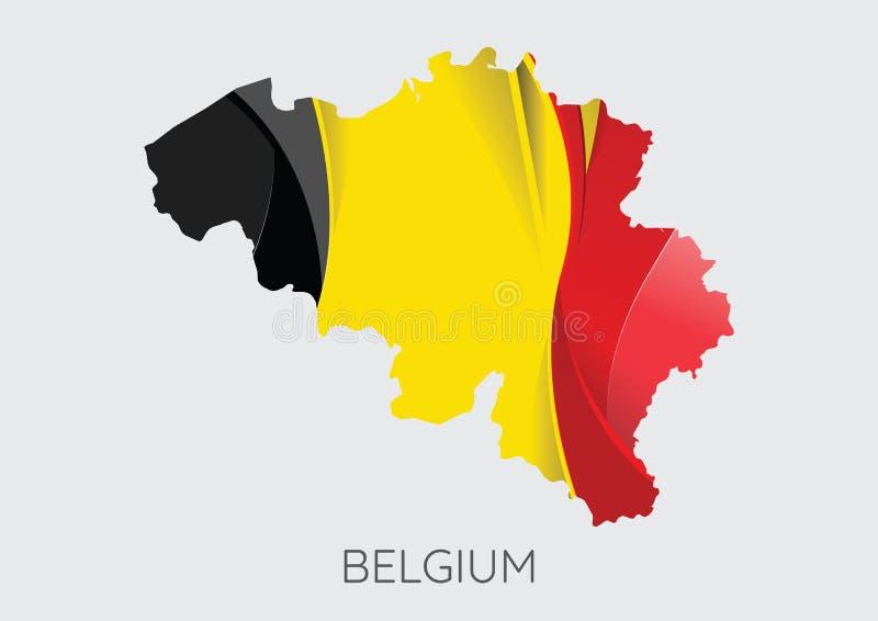 Översikt av Belgien med flaggan som textur stock illustrationer