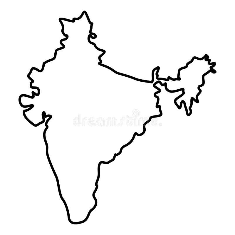 Översikt av bilden för stil för lägenhet för illustration för färg för Indien symbolssvart den enkla royaltyfri illustrationer