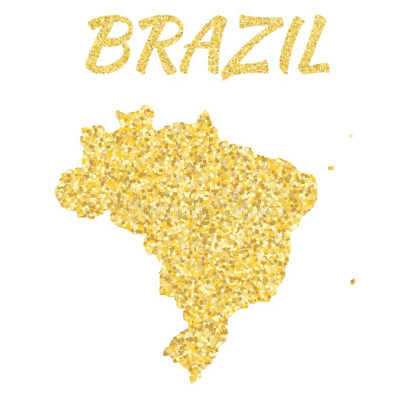 Översikt av Brasilien i guld- Med guld- gula partiklar och prickar blänka bakgrund vektor illustrationer