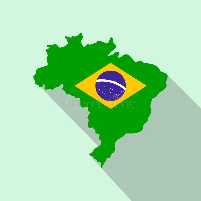 Översikt av Brasilien med bilden av nationsflaggan vektor illustrationer