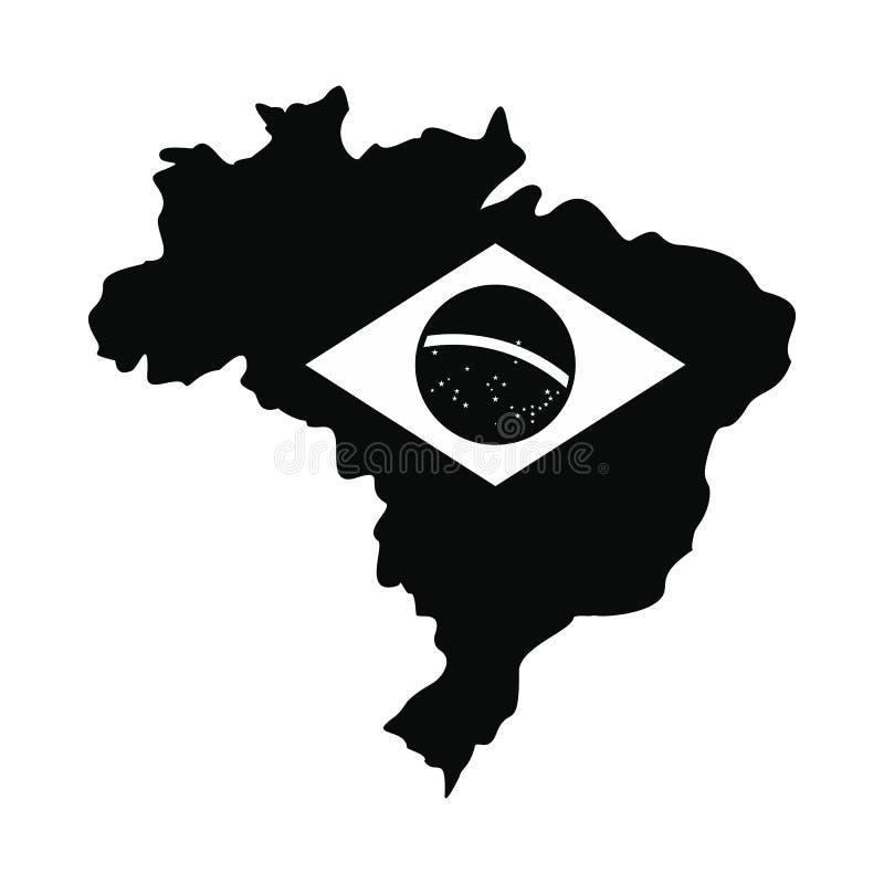 Översikt av Brasilien med bilden av nationsflaggan stock illustrationer