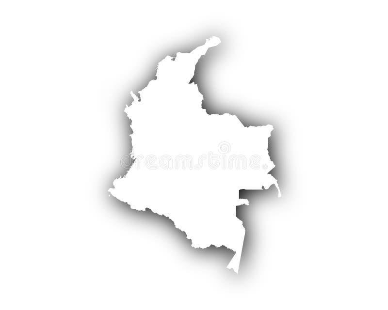 Översikt av Colombia med skugga vektor illustrationer