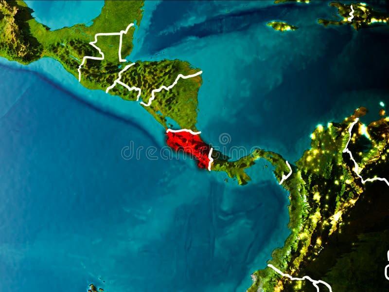 Översikt av Costa Rica på jord vektor illustrationer