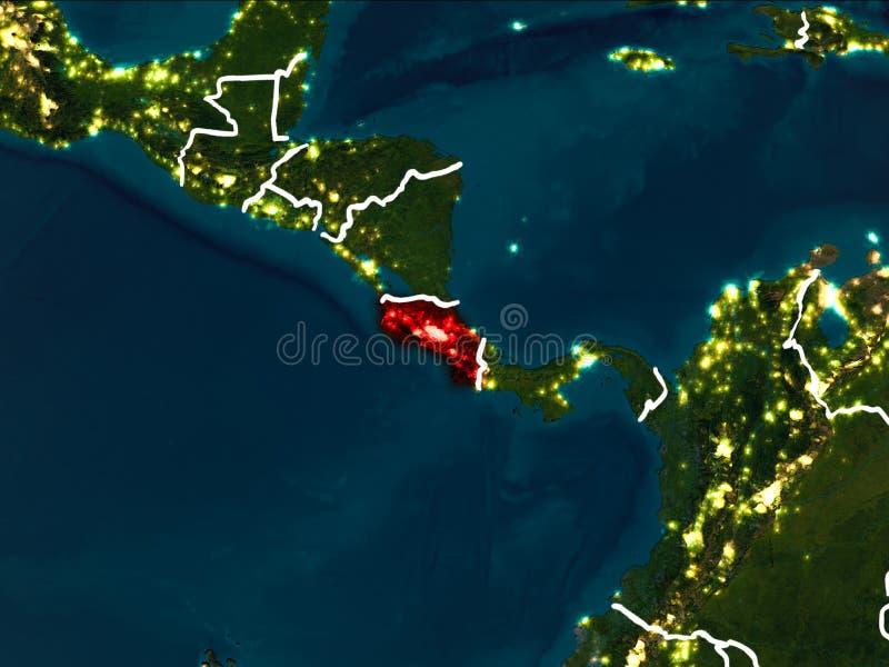 Översikt av Costa Rica på natten royaltyfri illustrationer