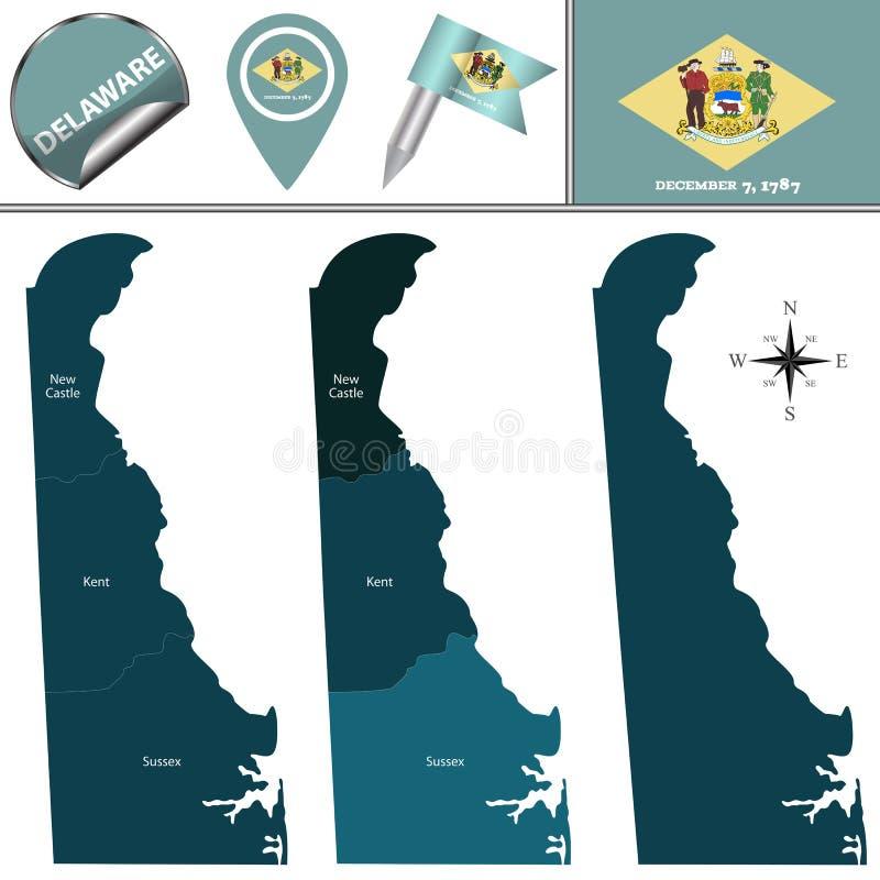 Översikt av Delaware med regioner royaltyfri illustrationer