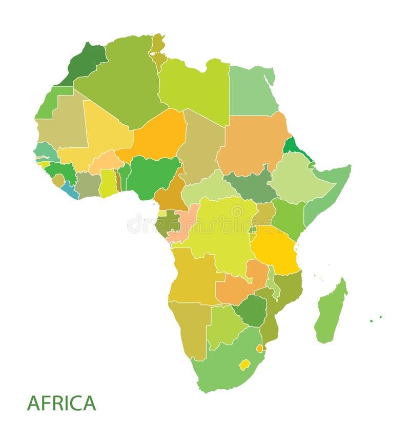 Översikt av den Afrika kontinenten stock illustrationer
