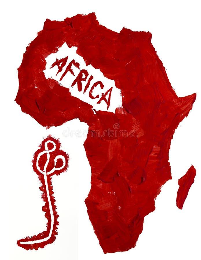 Översikt av den Afrika och Ebola viruset arkivbilder