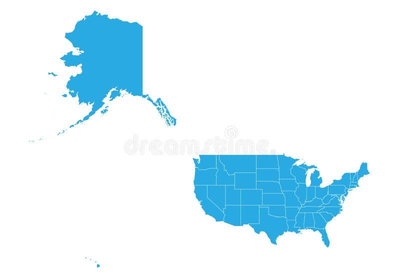 Översikt av den eniga staten av Amerika Mercator Hög detaljerad vektoröversikt - enig stat av Amerika Mercator vektor illustrationer