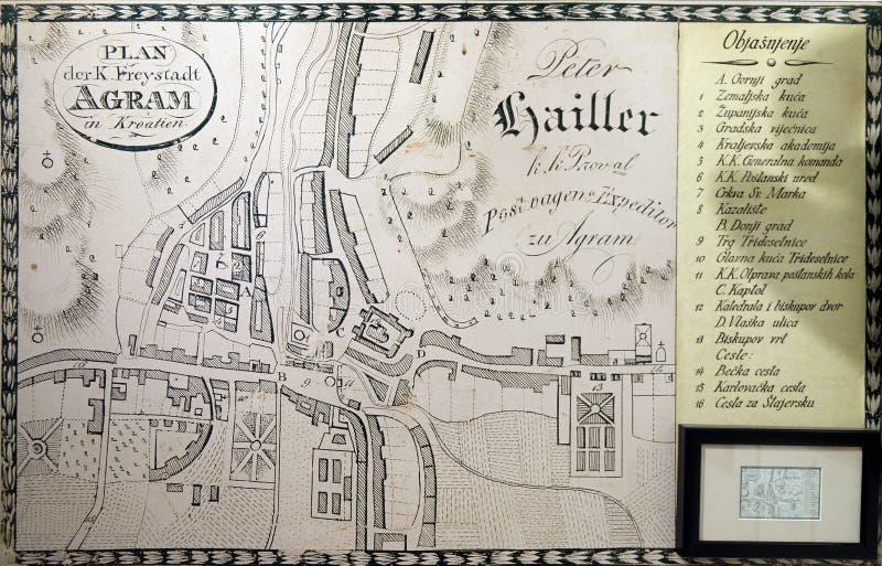 Översikt av den fria kungliga staden av Zagreb från 1817 royaltyfri foto