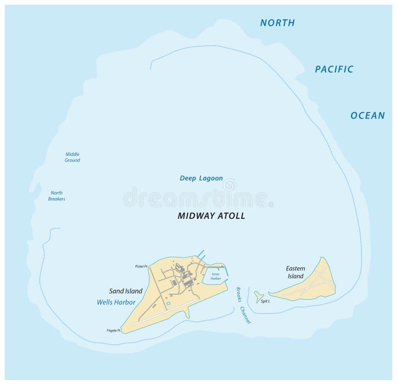 Översikt av den halvvägs atollen i det nordliga Stilla havet stock illustrationer