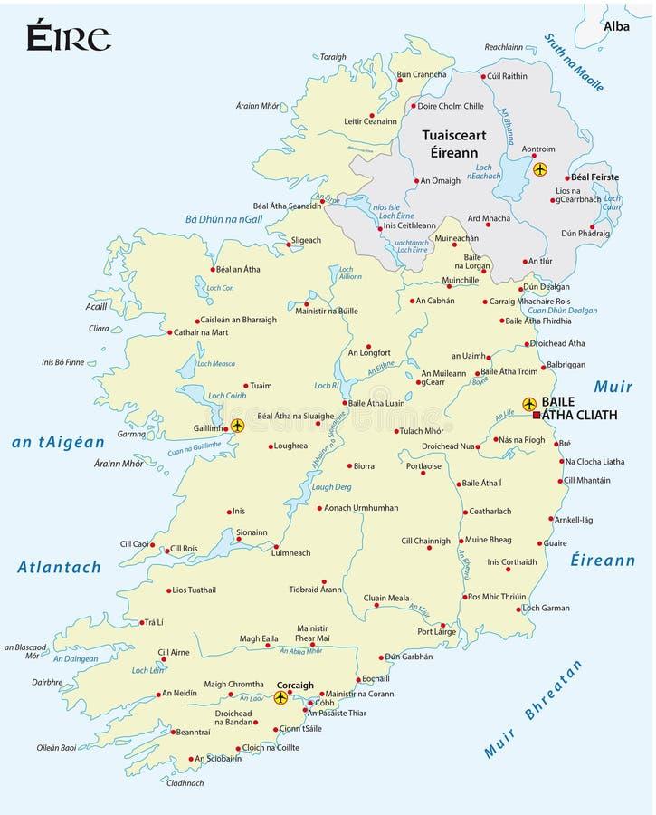 Översikt av den irländska republiken i irländskt ersiskt språk stock illustrationer
