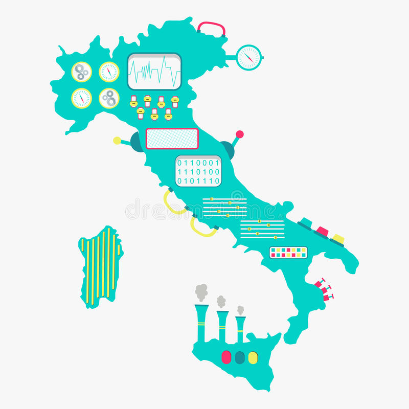 Översikt av den Italien maskinen royaltyfri illustrationer