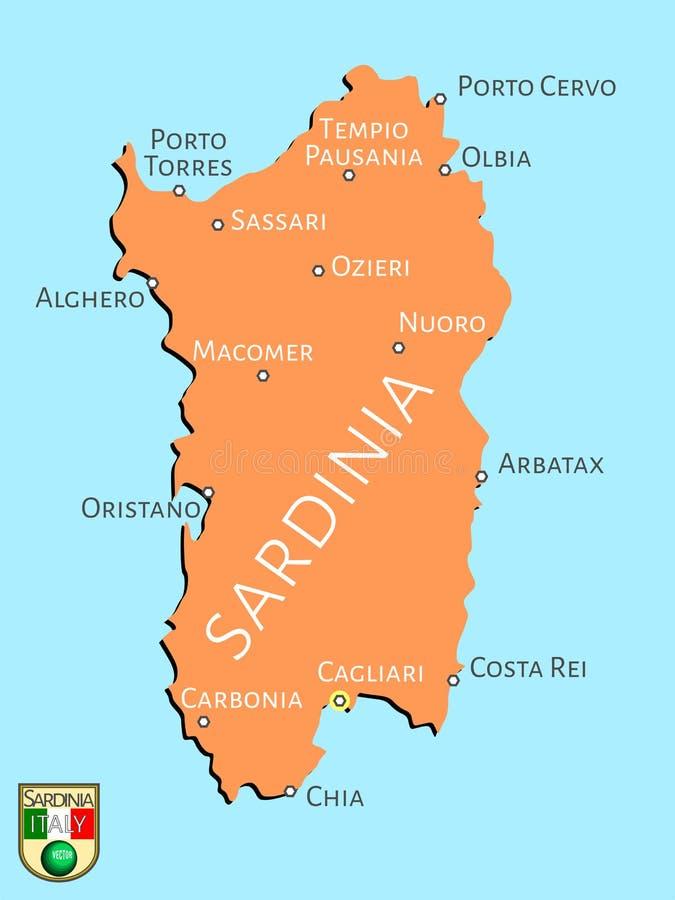 Översikt av den italienska ön av Sardinia stock illustrationer