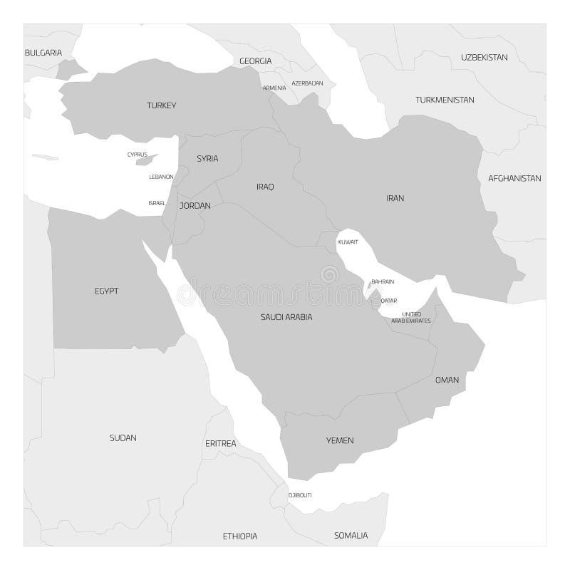 Översikt av den Mellanösten regionen stock illustrationer