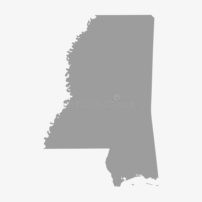 Översikt av den Mississippi staten i grå färger på en vit bakgrund stock illustrationer