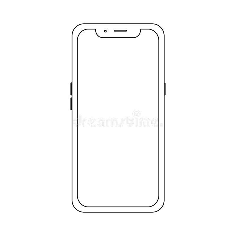 Översikt av den moderna telefonen Lagerföra vektorillustrationen för rengöringsdukbeståndsdel-, lek-, utskrifts- och applikationm vektor illustrationer