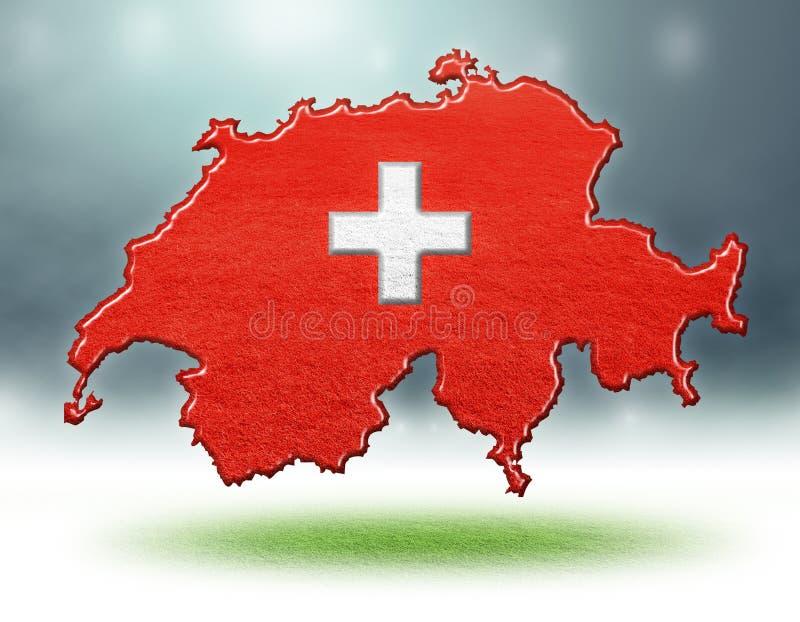 Översikt av den Schweiz designen med grästextur av fotbollfält royaltyfri foto