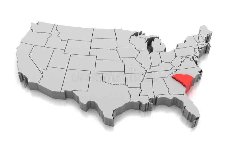 Översikt av den South Carolina staten, USA vektor illustrationer
