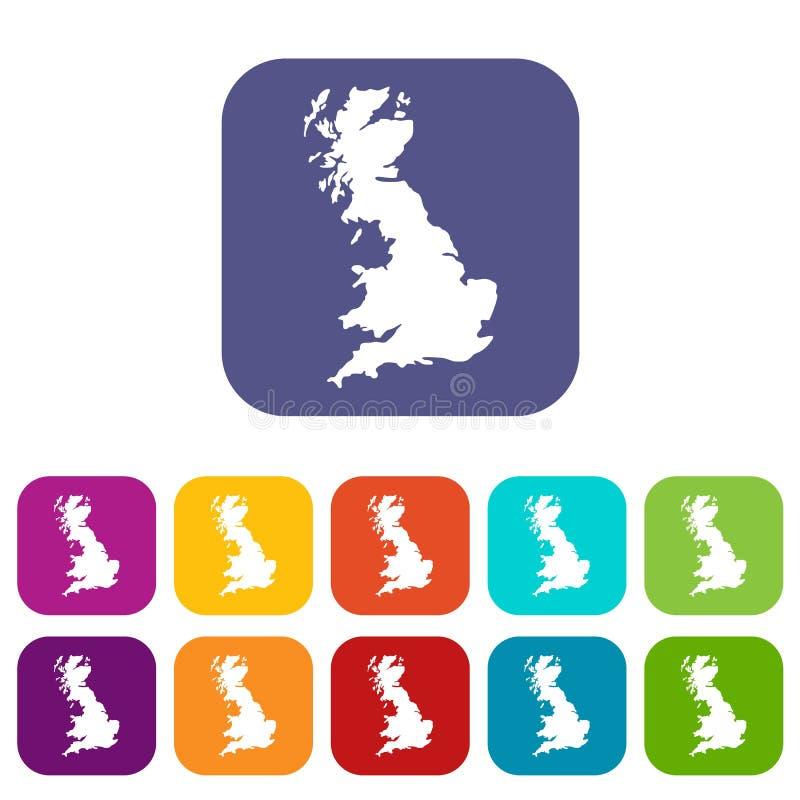 Översikt av den Storbritannien symbolsuppsättningen vektor illustrationer