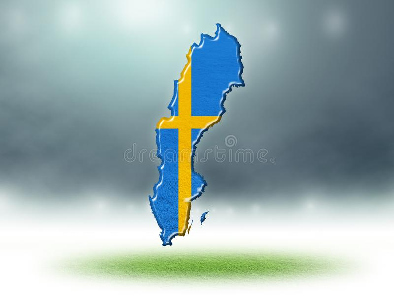 Översikt av den Sverige designen med grästextur av fotbollfält fotografering för bildbyråer