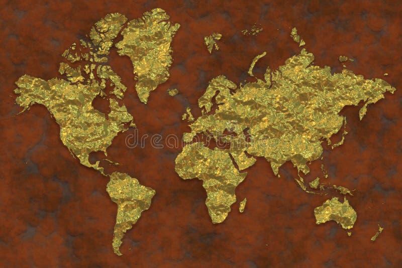Översikt av denpläterade världen, guld- yttersidor stock illustrationer