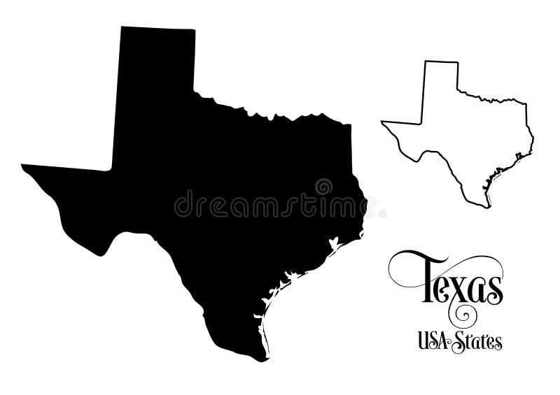 Översikt av det Amerikas förenta staterUSA tillståndet av Texas - illustration på vit bakgrund stock illustrationer