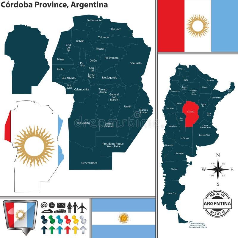 Översikt av det Cordoba landskapet, Argentina royaltyfri illustrationer