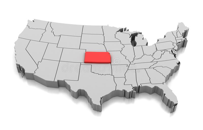 Översikt av det Kansas tillståndet, USA vektor illustrationer