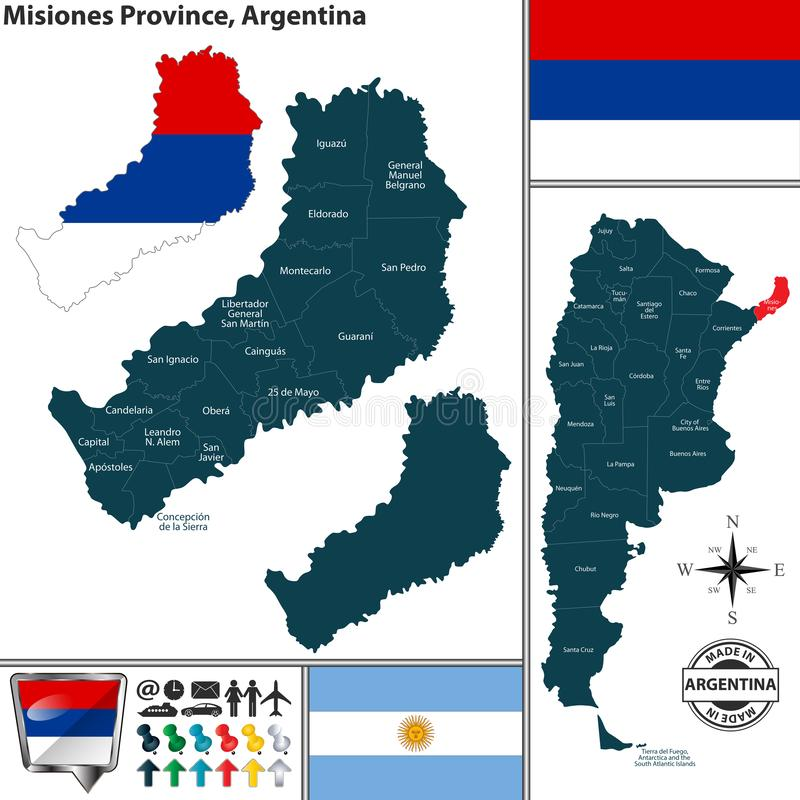 Översikt av det Misiones landskapet, Argentina stock illustrationer