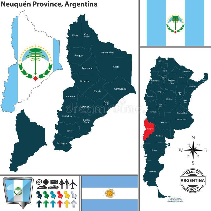 Översikt av det Neuquen landskapet, Argentina royaltyfri illustrationer