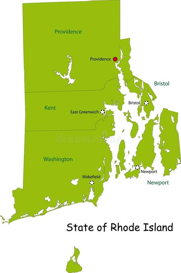 Översikt av det Rhode Island tillståndet stock illustrationer