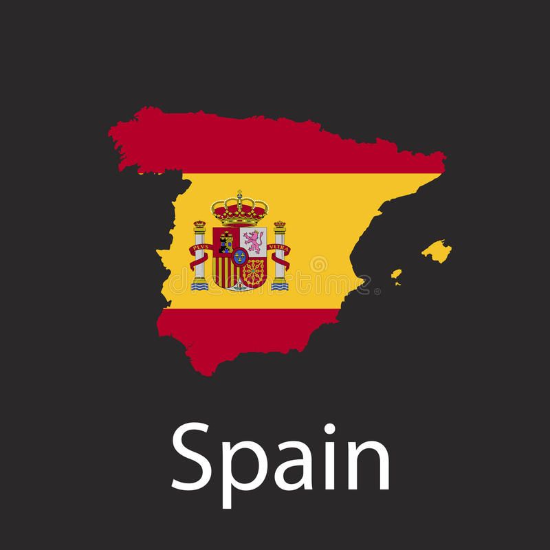 Översikt av det Spanien landet i färg av nationsflaggan Kontur av landet på mörk bakgrundsvektorillustration royaltyfri illustrationer