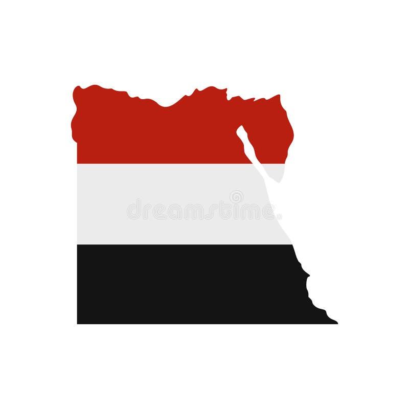 Översikt av Egypten med bilden av nationsflaggan stock illustrationer