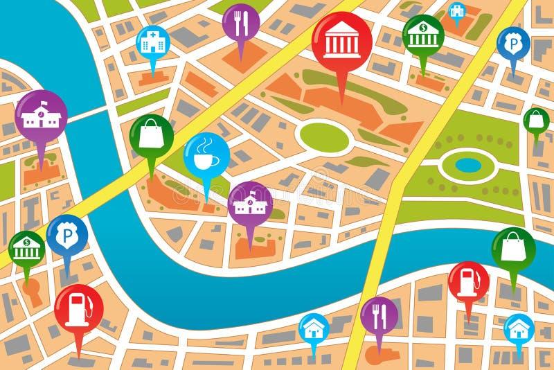 Översikt av en stad i GPS stil vektor illustrationer