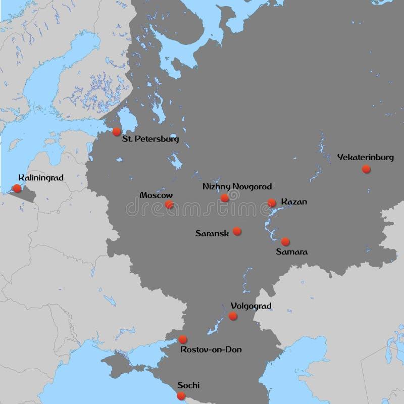Översikt av europén Ryssland vektor illustrationer