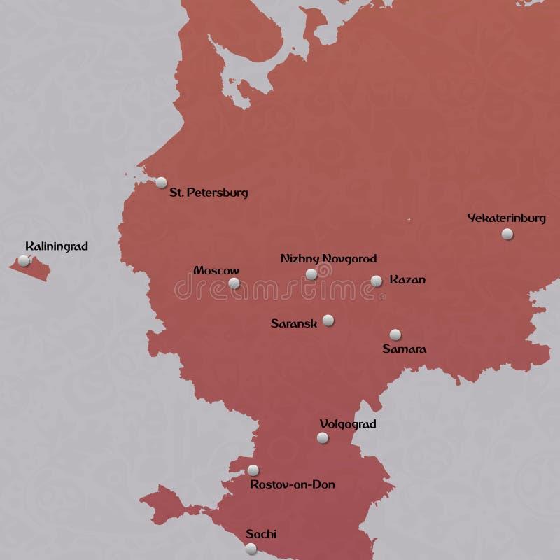 Översikt av europén Ryssland stock illustrationer