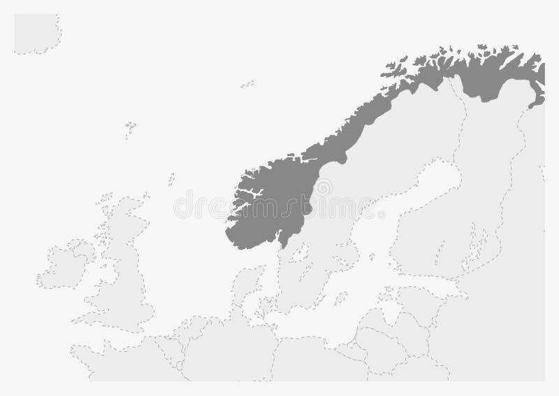 Översikt av Europa med den markerade Norge översikten vektor illustrationer