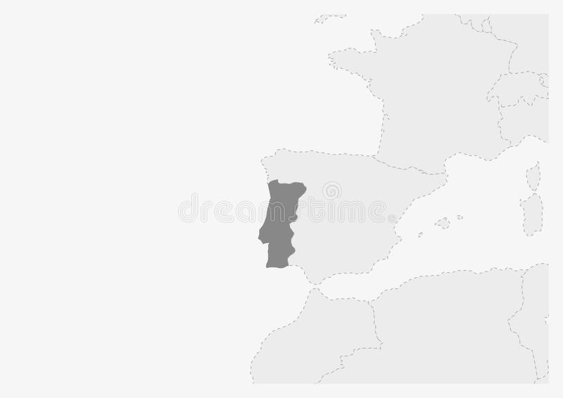 Översikt av Europa med den markerade Portugal översikten vektor illustrationer