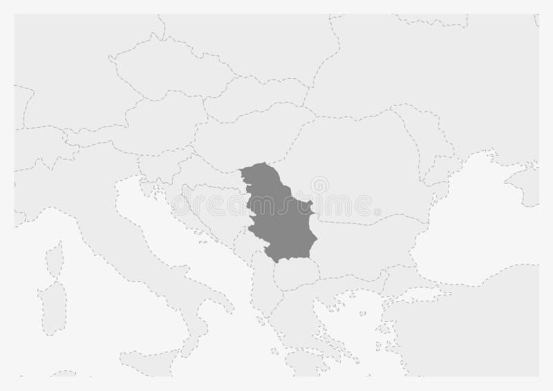 Översikt av Europa med den markerade Serbien översikten stock illustrationer