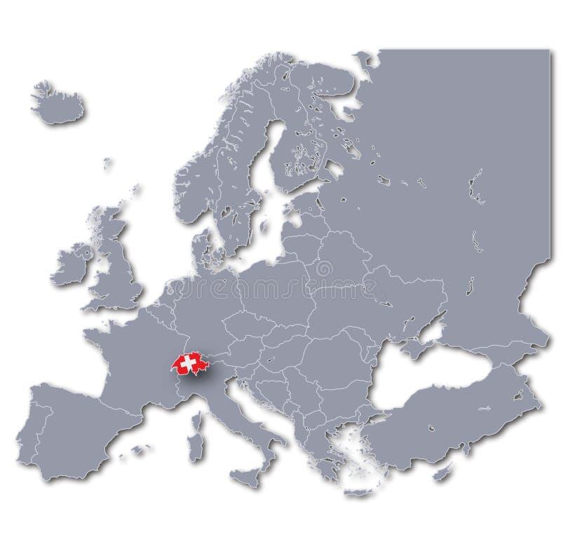 Översikt av Europa med Schweiz stock illustrationer