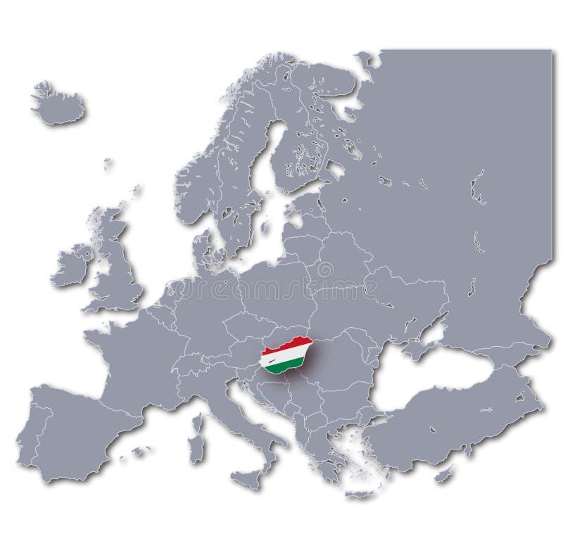 Översikt av Europa med Ungern royaltyfri illustrationer