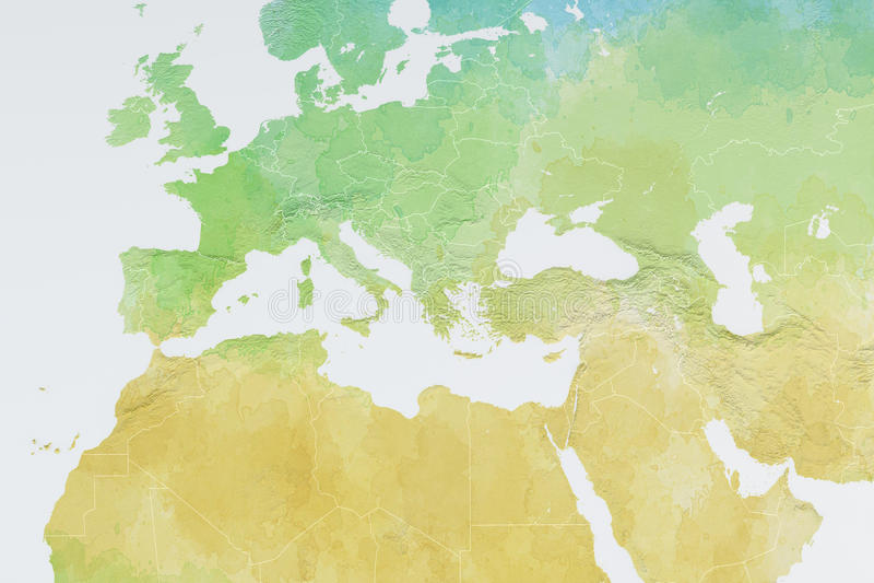 Översikt av Europa, Nordafrika och Mellanösten, lättnadsöversikt stock illustrationer