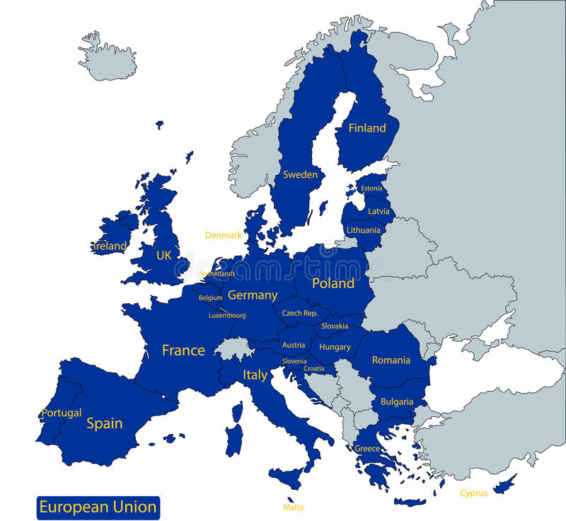 Översikt av europeisk union stock illustrationer