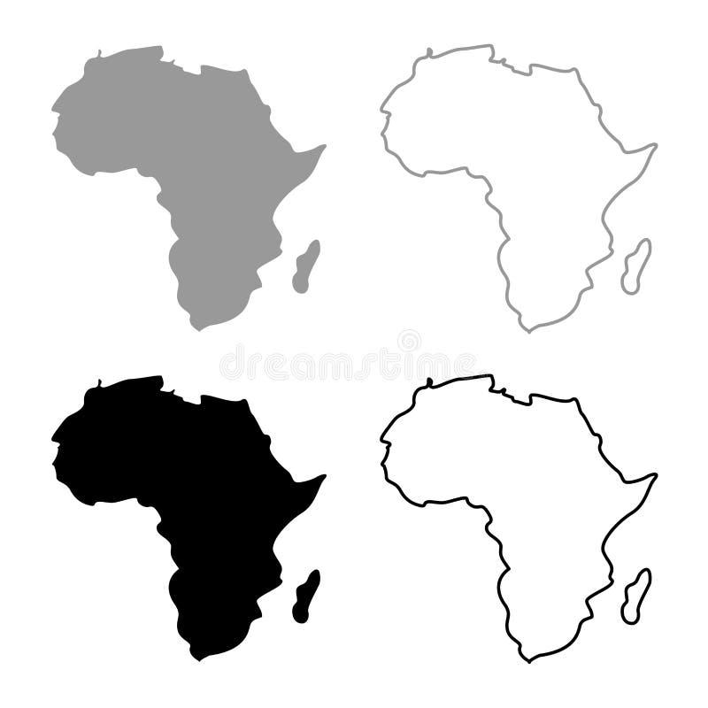 Översikt av färg för svart för grå färger för Afrika symbolsuppsättning royaltyfri illustrationer