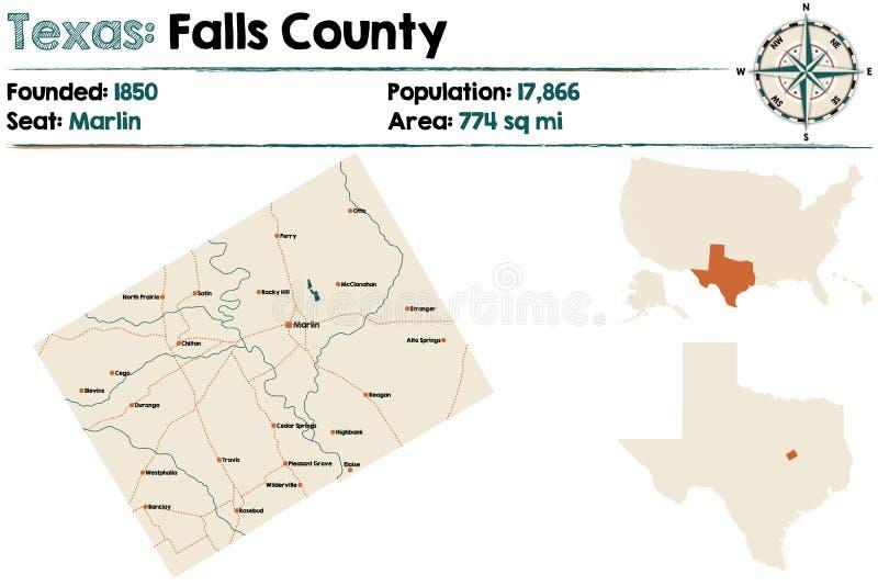 Översikt av Falls County i Texas vektor illustrationer