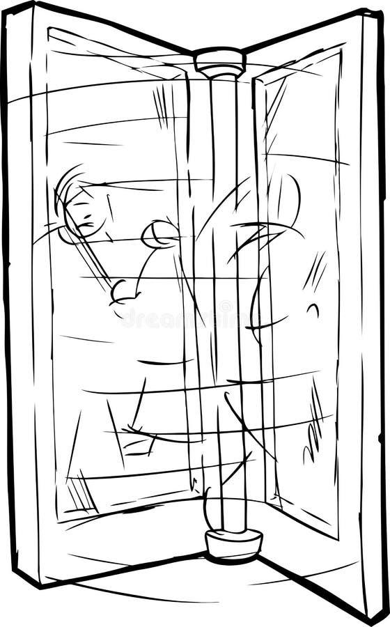 Översikt av folk, i att kretsa dörren royaltyfri illustrationer