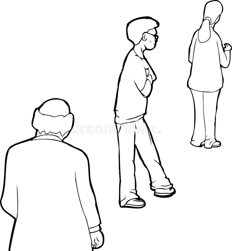 Översikt av folk i linje stock illustrationer